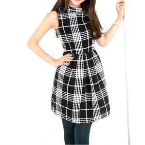 Black Plaid Tweed Skater Dress